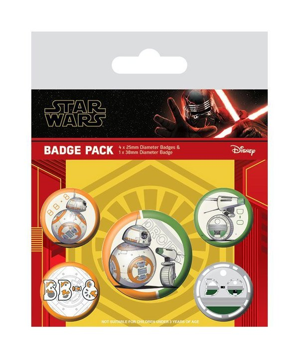 Star Wars Episode IX Ansteck-Buttons 5er-Pack Droids