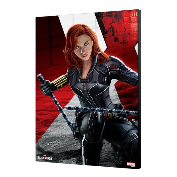 Black Widow Movie Holzdruck BW Kneeling 34 x 50 cm